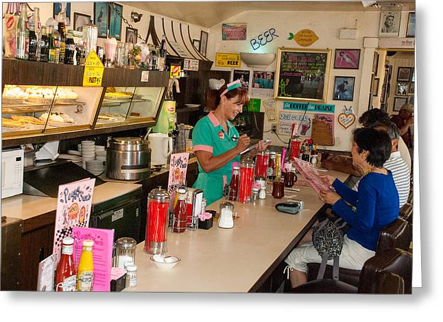 Historic Soda Fountain Peggy Sues Diner Yermo California Greeting Card by Robert Ford