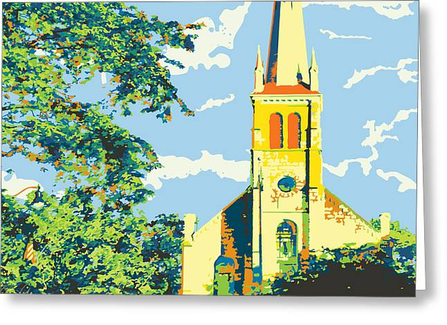Borgia Greeting Cards - Historic St Francis Borgia Church BOLD Greeting Card by Katherine Paulin