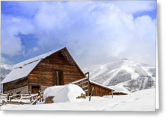 Historic Steamboat Springs Barn And Ski Area Greeting Card by Teri Virbickis