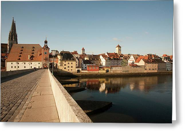 Historic Stone Bridge Over The Danube Greeting Card by Dave Bartruff