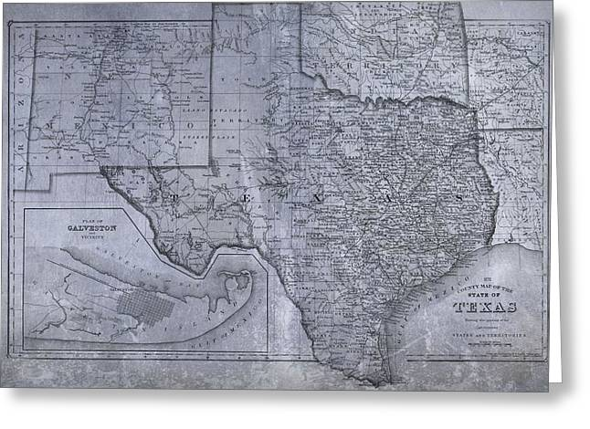 Arkansas State Map Greeting Cards - Historic Texas Map Greeting Card by Dan Sproul
