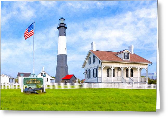Patriotic Savannah Greeting Cards - Historic Tybee Island Light Station Greeting Card by Mark Tisdale