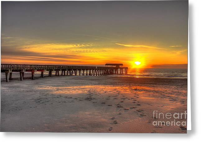 Tybee Island Pier Greeting Cards - Historic Tybee Island Sunrise Greeting Card by Reid Callaway