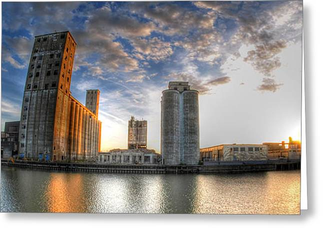 Pillsbury Greeting Cards - Historic View Of The Grain Elevators And General Mills at Sunset Greeting Card by Michael Frank Jr