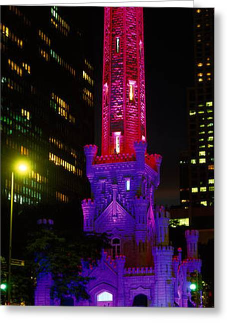 Long Street Greeting Cards - Historic Water Tower Lit Up At Night Greeting Card by Panoramic Images