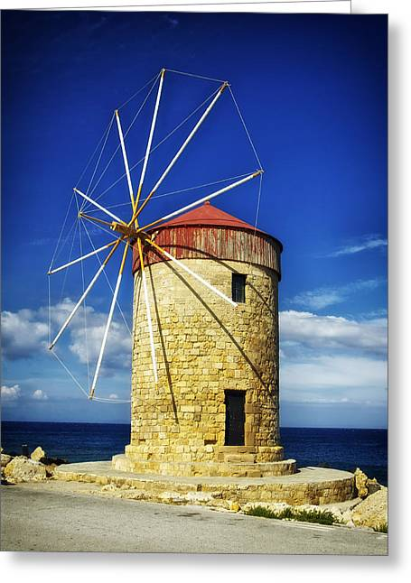 Rhodes Greeting Cards - Historic Windmill - Rhodes Greece Greeting Card by Mountain Dreams