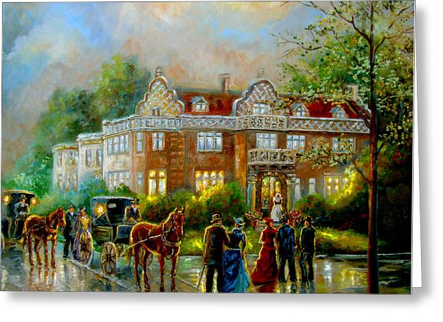 Evening Scenes Greeting Cards - Historical architecture Indiana Baker house mansion  Greeting Card by Gina Femrite