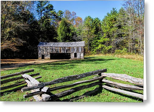 Smokey Mountain Drive Greeting Cards - Historical Cantilever Barn at Cades Cove Tennessee Greeting Card by Kathy Clark