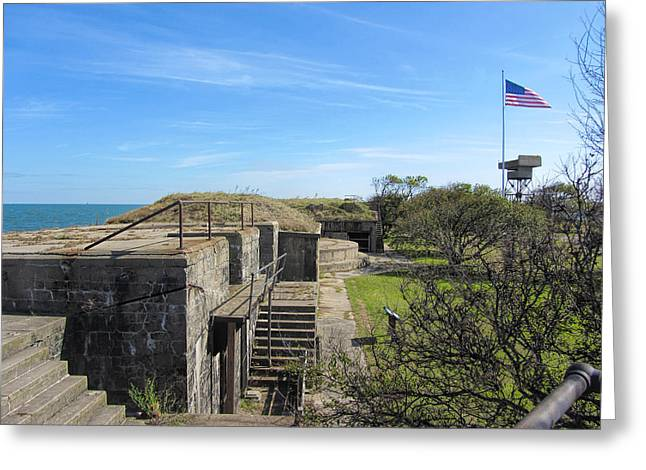 Outmoded Photographs Greeting Cards - Historical Fort Wool Virginia Landmark Greeting Card by Kathy Clark