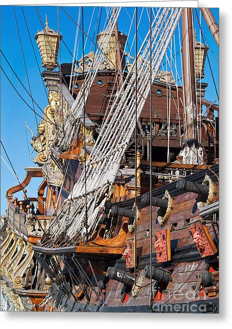 Historic Schooner Greeting Cards - Historical Galleon Greeting Card by Antonio Scarpi