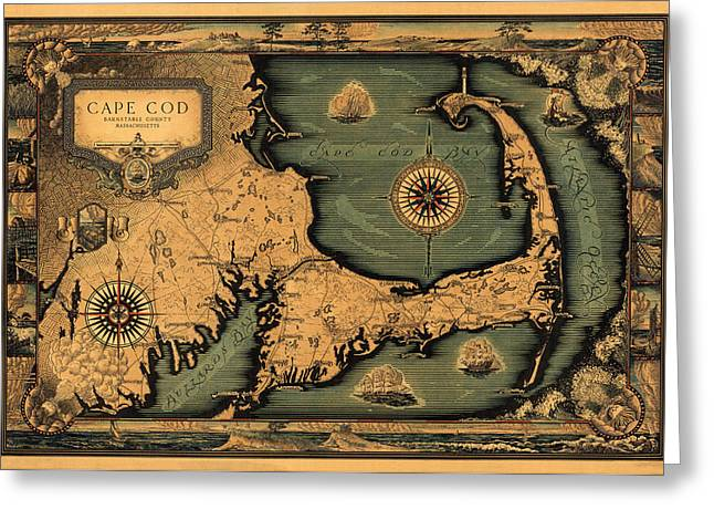 Vintage Map Photographs Greeting Cards - Historical Map of Cape Cod Greeting Card by Andrew Fare