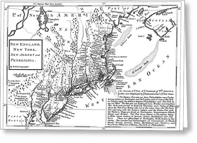 Postal Drawings Greeting Cards - Historical Map of Post Routes - 1746 Greeting Card by Historic Maps