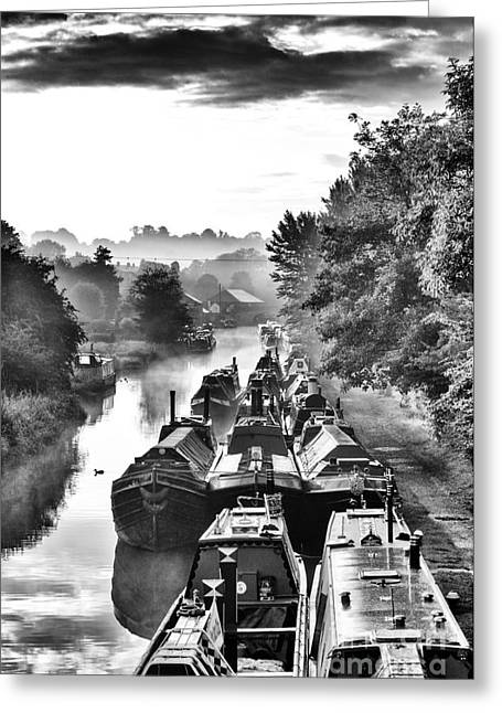 Calm Waters Greeting Cards - Historical Narrowboats Greeting Card by Tim Gainey
