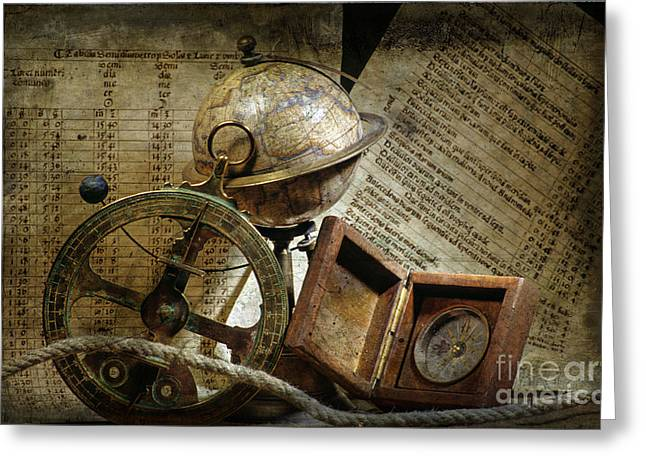 Ships Compass Greeting Cards - Historical navigation Greeting Card by Bernard Jaubert