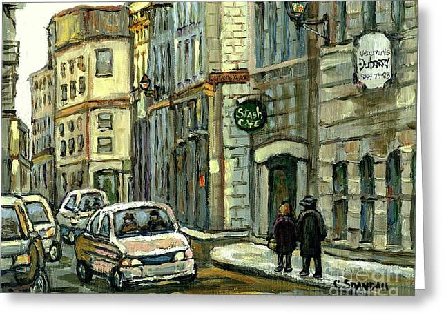 Resto Cafes Greeting Cards - Historical Old Montreal Landmark Paintings Stashs Cafe Celebrate Montreal 375 Quebec Art C Spandau Greeting Card by Carole Spandau