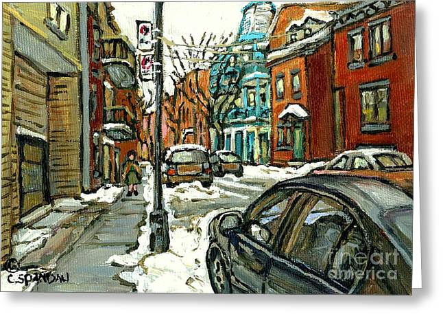 The Plateaus Paintings Greeting Cards - Historical Plateau Mont Royal Winter Street Painting For Sale Celebrate Montereal 375 C Spandau Greeting Card by Carole Spandau