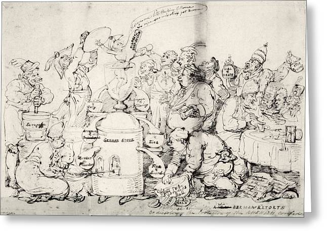 Rowlandson Greeting Cards - Historical political satire, artwork Greeting Card by Science Photo Library
