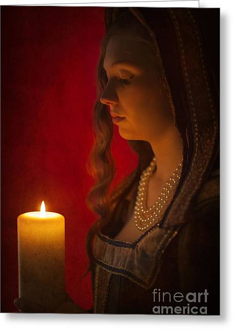 Gold Necklace Greeting Cards - Historical Woman Holding A Candle Greeting Card by Lee Avison