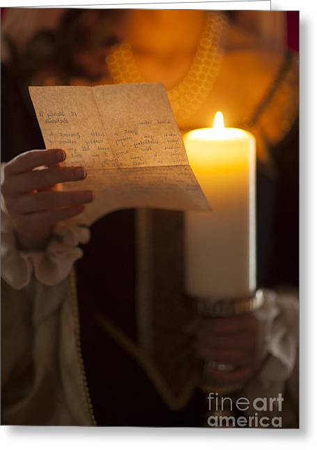 Gold Necklace Greeting Cards - Historical Woman Reading A Letter By Candle Light Greeting Card by Lee Avison
