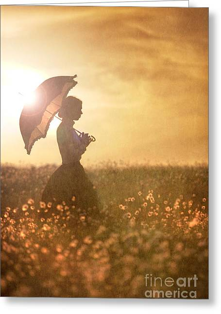 Best Sellers -  - Full Skirt Greeting Cards - Historical Woman With Parasol In A Meadow At Sunset Greeting Card by Lee Avison