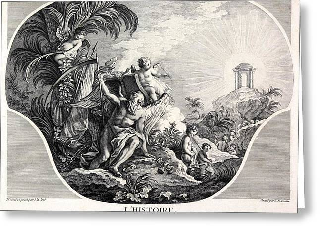 Written French Greeting Cards - History allegory, 18th-century artwork Greeting Card by Science Photo Library