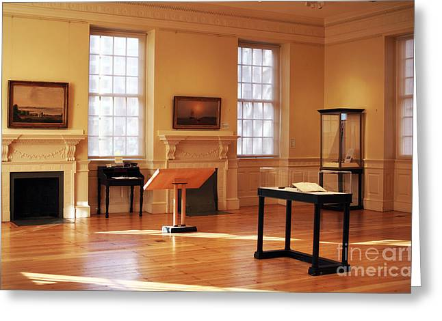 Old School House Greeting Cards - History at the Old State House Greeting Card by John Rizzuto