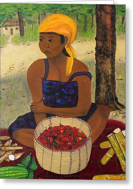 Recently Sold -  - Watermelon Greeting Cards - History behind Caribbean Food Produces Greeting Card by Nicole Jean-Louis
