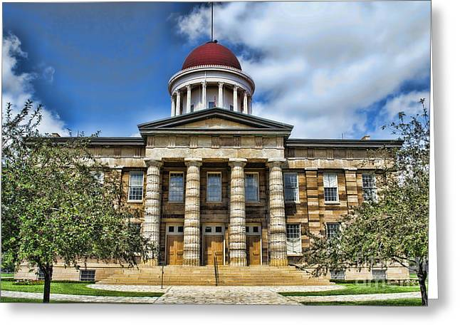 State Legislator Greeting Cards - History -  Illinois Old Capitol Building3 -  Luther Fine Art Greeting Card by Luther Fine Art