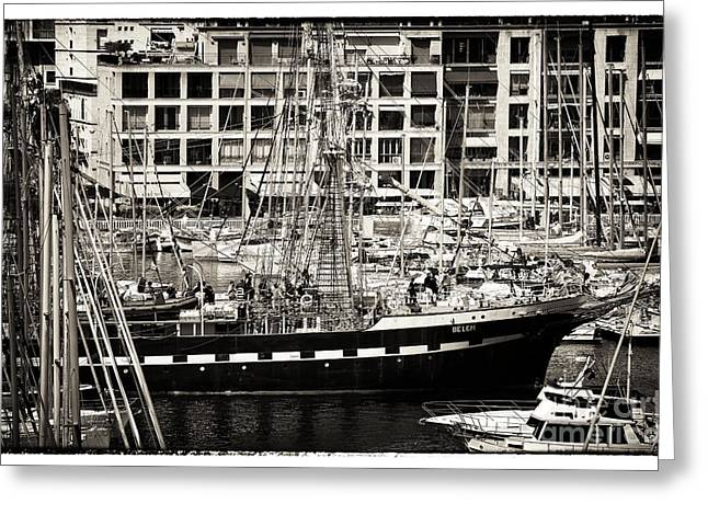 Sailboat Photos Greeting Cards - History in the Port Greeting Card by John Rizzuto