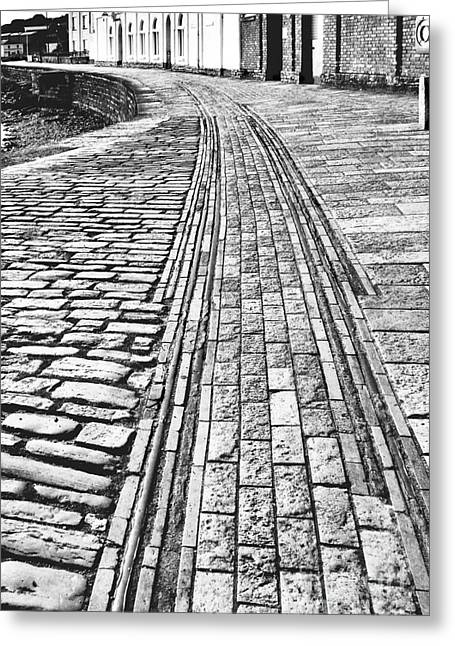 Seacape Greeting Cards - History. Swanage Pier Tramway. Black And White Greeting Card by Linsey Williams