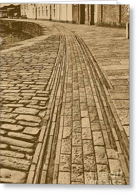 Seacape Greeting Cards - History. Swanage Pier Tramway In Sepia Greeting Card by Linsey Williams