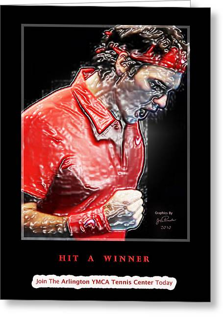 Roger Federer Digital Art Greeting Cards - Hit A Winner Greeting Card by Joe Paradis