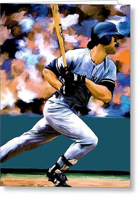 Donnie Baseball. Greeting Cards - Hit Man  Don Mattingly  Greeting Card by Iconic Images Art Gallery David Pucciarelli