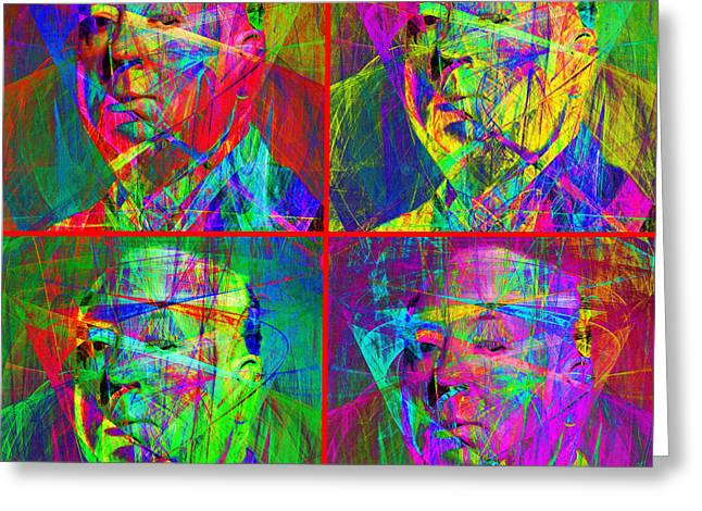Horror Fantasy Movies Greeting Cards - Hitchcock 20130618 Four Squares Greeting Card by Wingsdomain Art and Photography