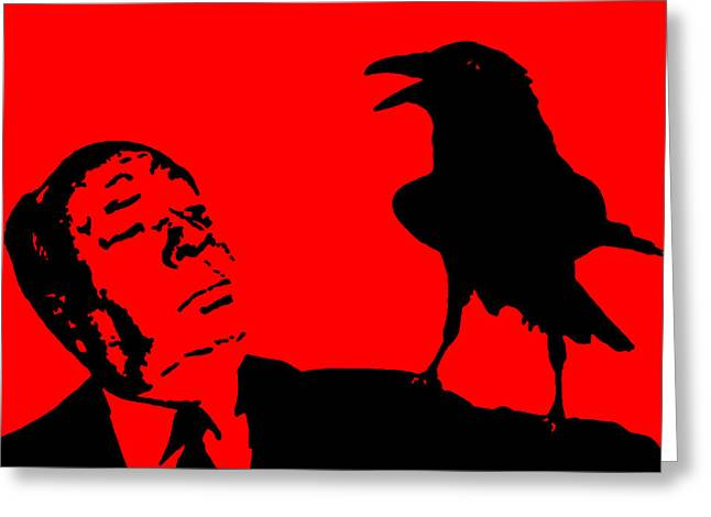 Macabre Digital Art Greeting Cards - Hitchcock in Red Greeting Card by Jera Sky