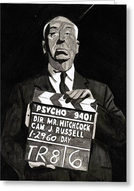 Film Noir Mixed Media Greeting Cards - Hitchcock Greeting Card by Rob Merriam