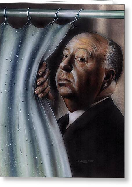 Alfred Hitchcock Greeting Cards - Hitchcock Greeting Card by Tim  Scoggins