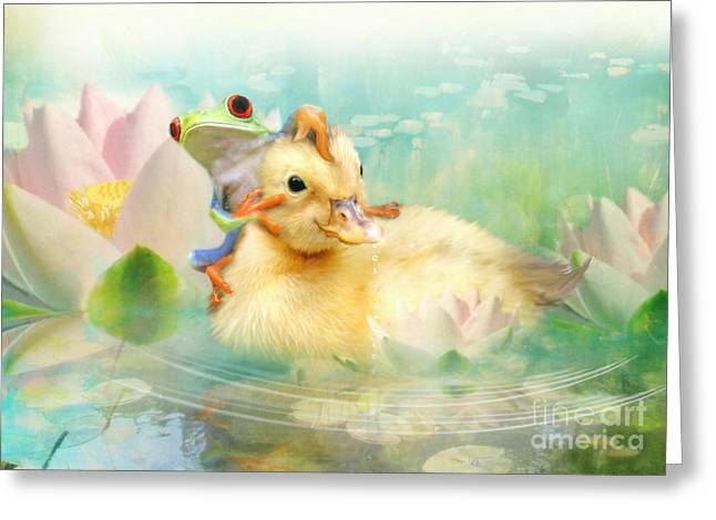 Ducklings Greeting Cards - Hitching a Ride Greeting Card by Trudi Simmonds