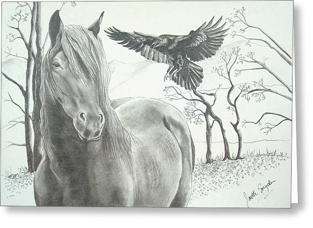 Graphite Art Drawings Greeting Cards - HitchN a Ride Greeting Card by Joette Snyder
