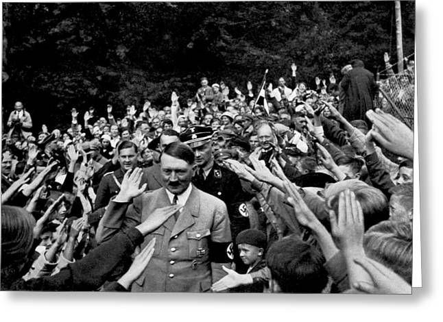 Hitler Being Greeted Greeting Card by Underwood Archives