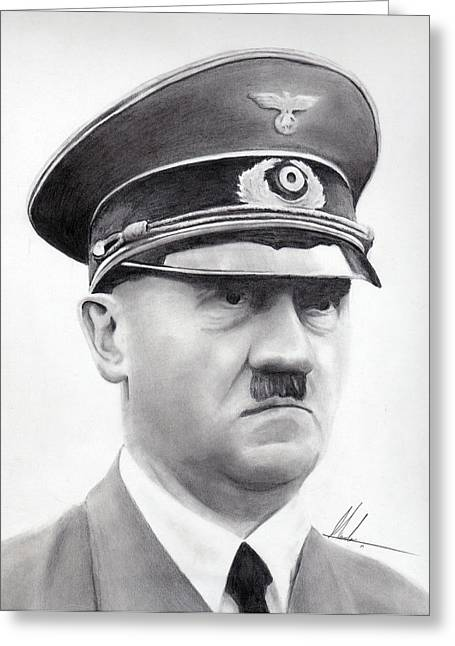 World War 2 Drawings Greeting Cards - Hitler Portrait  Greeting Card by Marcos Islava