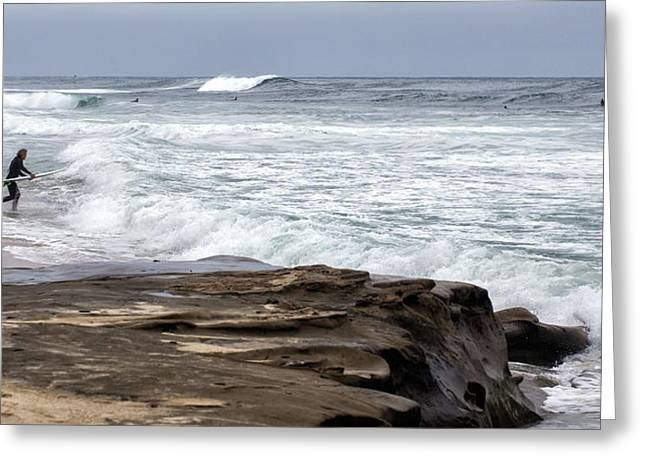 La Jolla Surfers Greeting Cards - Hittin the Breakers Greeting Card by Peter Tellone