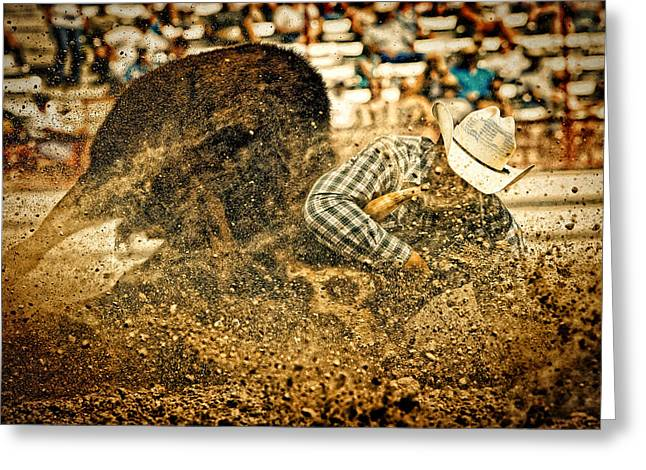 Steer Greeting Cards - Hittin The Dirt Greeting Card by Lincoln Rogers