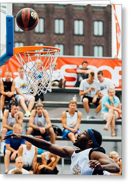 Professional Basket Ball Player Greeting Cards - Hitting the goal Greeting Card by Alyaksandr Stzhalkouski