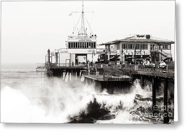 Brown Tones Greeting Cards - Hitting the Santa Monica Pier Greeting Card by John Rizzuto