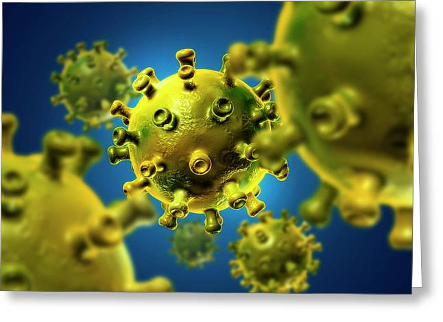 Hiv Particles Greeting Card by Harvinder Singh