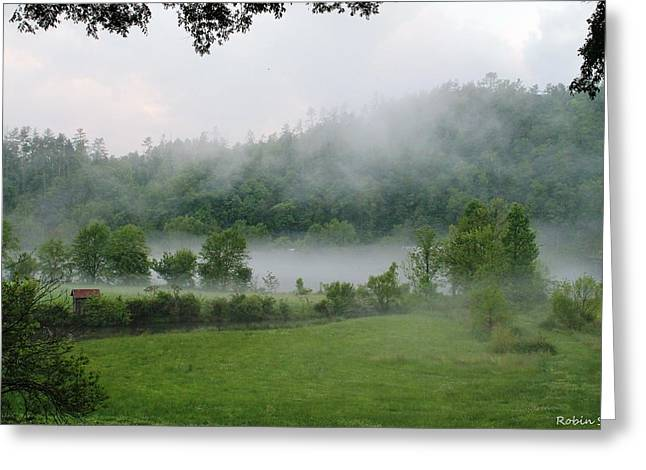 Tn Greeting Cards - Hiwassee River Foggy Evening Greeting Card by Robin Vargo