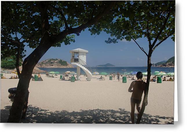 China Beach Greeting Cards - HK beach Greeting Card by Grant Reid