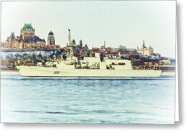 Sot Greeting Cards - HMCS Ville De Quebec Greeting Card by Shawna Mac