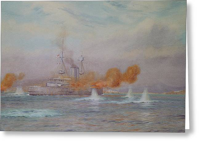 Wwi Photographs Greeting Cards - H.m.s. Albion Commanded By Capt. A. Walker-heneage Completing The Destruction Of The Outer Forts Greeting Card by Alma Claude Burlton Cull
